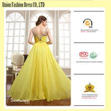 Excellent Designer Floor Length Yellow Crystal prom dresses 2012