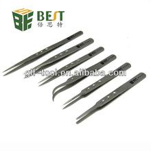 BEST- Stainless Steel Tweezers with Rount Bent Flat tip