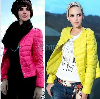 New Women's Round Neck Candy Color Winter Short Down Coat Cotton-padded Jacket 4 Colors S-XL ...