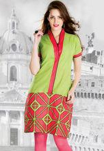 Green poly cotton readymade kurta is designed with geometric print 2013