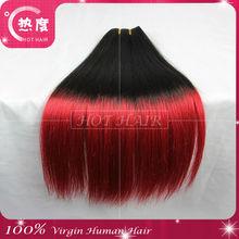Top grade virgin brazilian hair red hair black hair two tone color