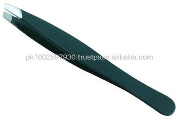 Eyebrow Tweezers,Tweezers for Eyelash Extension,Tweezer Black Stainless Steel Professional Slant