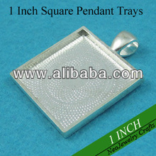 1 Inch Shiny Silver Square Tray Pendant Trays, Blank Bezel Pendant Settings for Cabochon or Epoxy