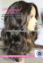 Kosher certification 20# natural color big wave 100% European virgin human hair jewish wig