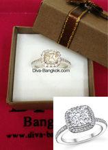Costume Jewelry: CZ Diamond Ring (Halo Design - Princess cut)