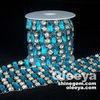 Best-selling capri blue rectangle shaped rhinestone chain trimming in multicolor.Elegant 10yards/roll rhinestone on roll