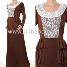 Islamic Abaya Muslim Fashion Clothing Long Sleeves Jersey Lace Maxi Dress