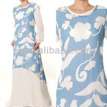 Islamic Abaya Muslim Fashion Clothing Long Sleeves 2 Piece Cotton Chiffon Maxi Dress