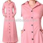 Islamic Abaya Muslim Fashion Clothing Long Sleeves Worksuit Cotton Shirti Dress