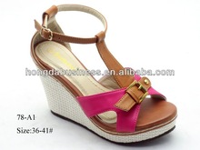 2014 England lady wedge heel sandal open toe