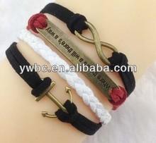 Faith or Courage anchor infinity cord charms bracelet set