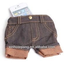 fashion Denim shorts cloth case For Phone 5 5G phone5 Cow Boy Jeans Retro + TPU CASE Purse Book Pouch pouches Skin