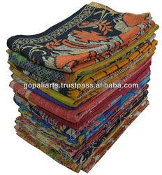 Vintage Sari Kantha Throw Vintage Kantha Quilt Reversible Blanket Bedspread Indian Bed Cover