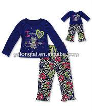 Moda azul cartas & Animal Print mangas compridas Top com estampa de leopardo calças longas infantis pijama roupas