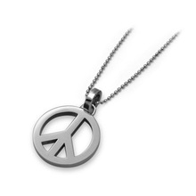Stainless Steel Matte & Polished Medium Sized Peace Sign Pendant