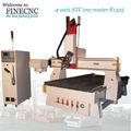 China y taiwán syntec para trabajar la madera del cnc enrutador de 4 ejes con cambiador de herramienta cnc finecnc1325-4