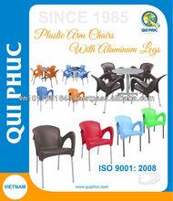 Plastic arm chair, Aluminum legs, suitable for restaurant, cafeteria, garden