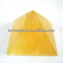 Natural rock stone carved crystal pyramids, topaz pyramids, yellow jade crystal pyramids carvings