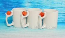 11OZ White Blank Sublimation mugs with Basketball insert handle FOR ZIBO XINYU PROMOTION