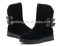 New fashin winter genuine leather warm ladies black shoes boots