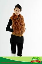 fashionable chic ladies knitted rex rabbit fur vest