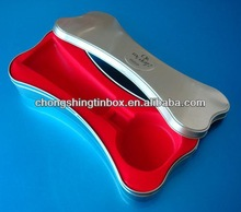 Bone shape food tin container house for pet dog