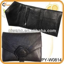 sheepskin bubble 3-fold leather wallet purse