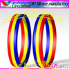 2014 World Cup:Chad flag stripes cheap customized silicone bracelet/wristband of red,yellow and red(LFGB/FDA)