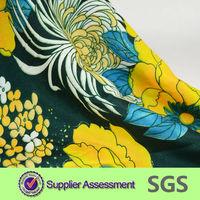 flower yellow print wool peach fabric for garment