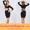 wholesale plus size black nude bandage celebrity dress