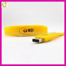 Hot sell popular wristband silicone usb bracelet,bulk cheap customized logo usb flash drive 4GB