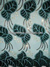 classical velvet fabric,embroidered flower velvet with sequence L13 aqua