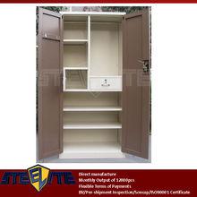 2 door steel bedroom cupboard design/furniture brown two doors beige metal almirah with inside lockable chest & drawer