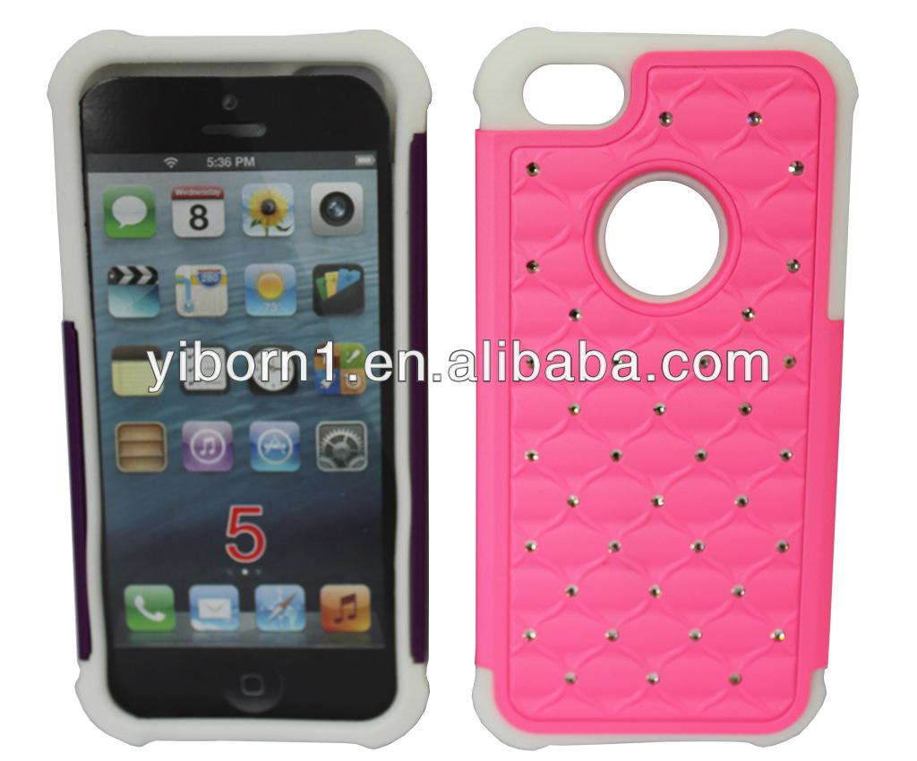 Bling Spot Diamond Hybrid Case Heavy Duty Cover for iPhone 5 5S