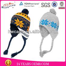 Wholesale cheap warm winter hat custom knitting pattern hat ear flaps