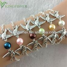 2014 New fashion vintage pearl infinity bracelets bird designs for girls!! Handmade jewelry pearl bracelets designs for girls!!