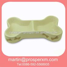 Two selection bone shaped dog bowl ceramic
