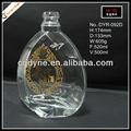 0,5 Liter transparent cystal klar spezialglas schnapsflaschen mit gold heißprägen großhändler