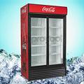 Puerta de vidrio comercial vertical nevera para bebidas
