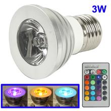 wholesale E27 3W RGB Flash LED Light Bulb with Remote Controller, AC 85-265V, Luminous Flux: 240-270lm