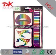 eye lip and nail tattoo Sticker set pass EN71