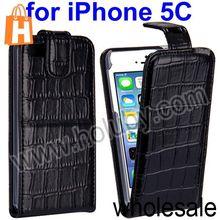 Black Alligator Pattern Magnetic Top Flip Leather Case for iPhone 5C