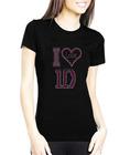 I Love One Direction Cheap Custom Rhinestone T shirts