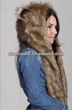 2013 Plush Faux Fur Wolf Shape Long Animal Hat Winter Hat