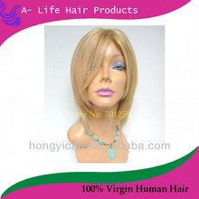 100% human hair blonde hair jewish hair silk base 4*4 top kosher wig