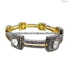 Brazalete de Broche en Oro Amarillo de 14k y Plata Esterlina 925 Pulsera Delgada con Incrustaciones de Diamantes Naturales