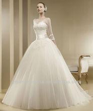 nuevo w542 bola modesto vestido de novia vestidos con mangas 2014