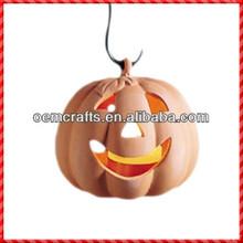 Funny custom Halloween smiling terracotta pumpkin lantern