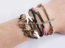 bronze love anchor Wax Cords bracelet / faith cross woven Leather Bracelet