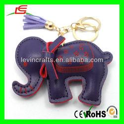 D950 Thai Cute Elephant Keychain Key Ring Leather Key Fob
